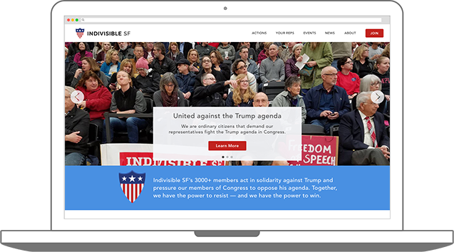 Indivisible SF website Home page