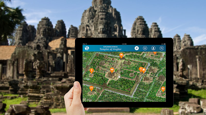 Viewing Exploring Stories Map at Bayon Temple